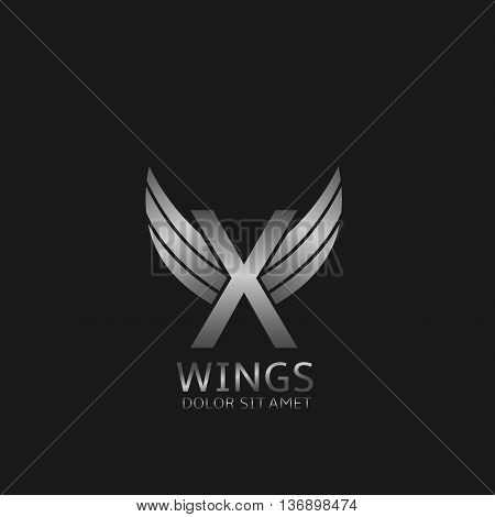 X letter logo. Silver wings symbol. Silver X letter logo template for air company