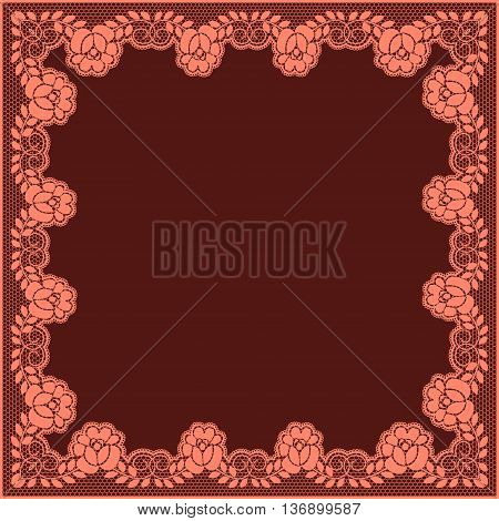 Elegant pink lace frame on a maroon background