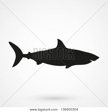 Shark Icon On White Background In Flat Style. Simple Vector Illustration