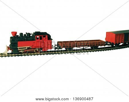 Children's Railway. Locomotive platform and wagons on a white background.