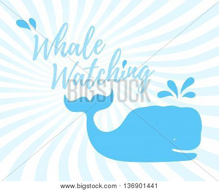 Whale watching logo in handwritten style with text and blue whale and splashes on wavy background. Vector illustration