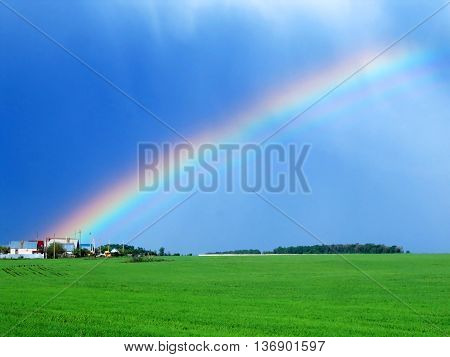 Color rainbow in the sky after the rain