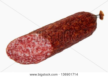 A piece of smoked sausage isolated on white background.