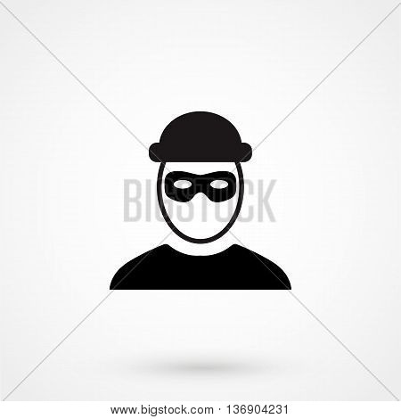 Robber Icon On White Background In Flat Style. Simple Vector Illustration
