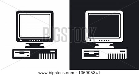 Vector Retro Computer With Crt Monitor Icon. Two-tone Version Of Old Computer With Crt Monitor Simpl