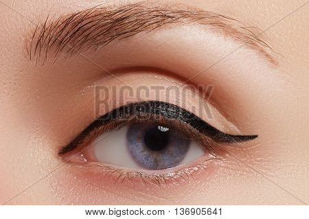Beautiful Female Eye With Sexy Black Liner Make-up