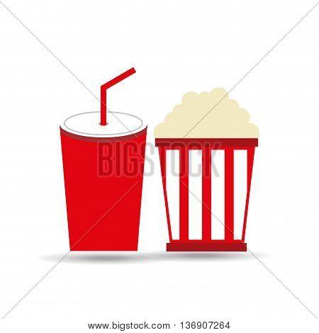 soda and pop corn  isolated icon design, vector illustration  graphic