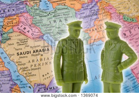 Toy Generals And Globe Focused On The Middle East