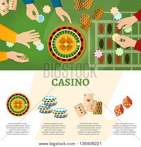 Casino infographics people play roulette baccarat table vector illustration