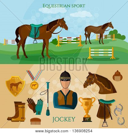 Equestrian sport banner professional jockey horse riding vector illustration