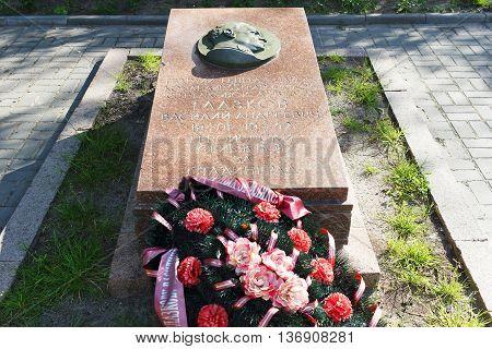 VOLGOGRAD RUSSIA - June 12 2016: Memorial grave to Glazkov Vasily to Andreevich. Park Komsomol garden Volgograd Russia