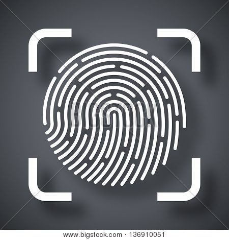 Vector Fingerprint Scanning Icon. Fingerprint Scanning Simple Icon On A Dark Gray Background