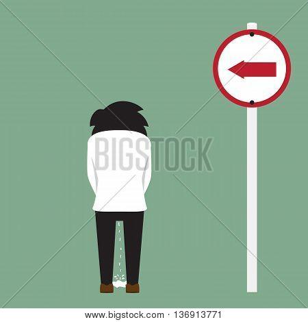 peeing man on roadside vector illustration. homeless concept.