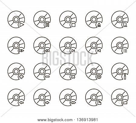 Black cd disc icons a white background