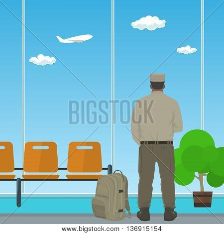 Man in Uniform Looking out the Window in a Waiting Room, Waiting Hall with a Man, Flat Design, Vector Illustration