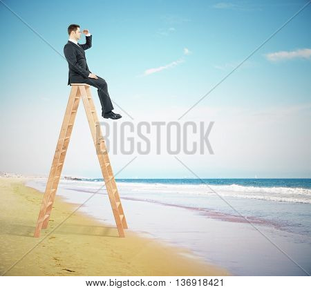 Research concept with businessperson sitting on ladder top and looking into the distance on the beach