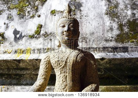 Buddha statue vintage horizontal in temple Thailand