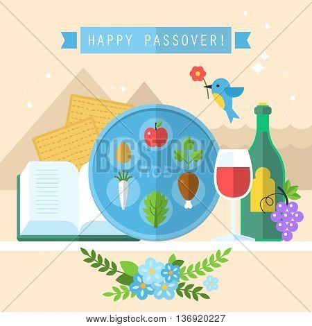 Jewish holiday of Passover seder plate with flat icons
