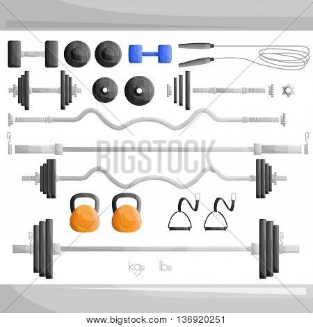 gym weight exercise work out set illustration.