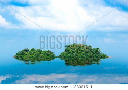 island and sea reflex Summer background. Thailand.