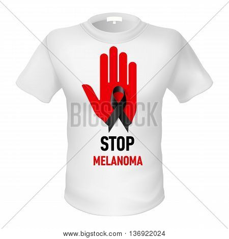 White t-shirt with sign stop melonoma. Red hand with black ribbon