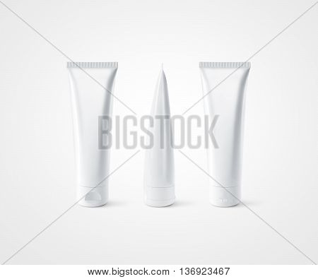 Blank white tube design mockup front back profile side view set, isolated, clipping path. Clear cream packaging stand mock up. Lotion skin care package bottle template. Scincare cosmetic gel flacon.