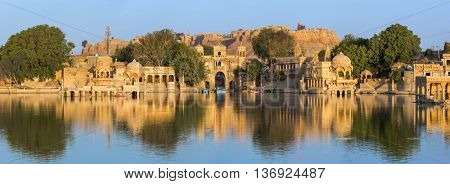 Gadi Sagar (Gadisar) Lake is one of the most important tourist attractions in Jaisalmer, Rajasthan, India. Artistically carved temples and shrines around The Lake Gadisar Jaisalmer.