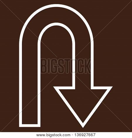 Turn Back vector icon. Style is outline icon symbol, white color, brown background.