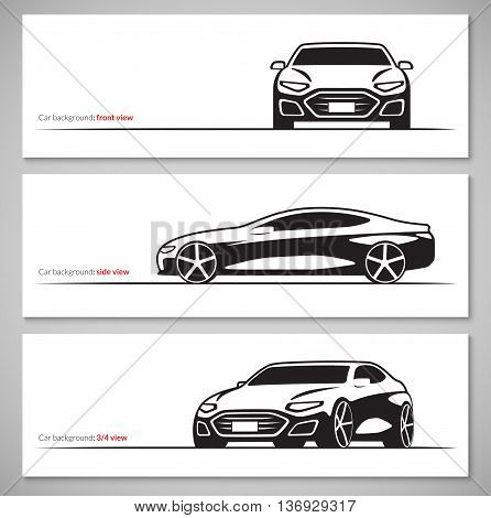 Set of modern car silhouettes, contours isolated on white background. Front, side, three quarter view. Vector illustration