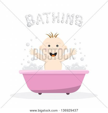 Baby bathing in a small bath with bath foam and soap bubbles. A joyful baby takes a bath body hygiene of the infant. Game baby in the bath water.