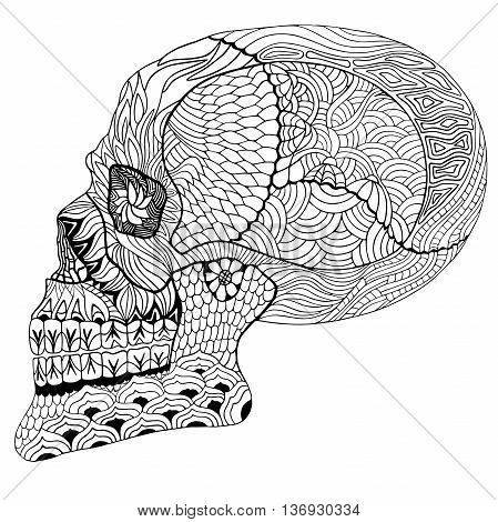 Hand drawn vector illustration with geometric and floral elements. Original hand drawn human skull.