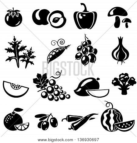 Set of fruits and vegetables: tomato peach onion pepper paprika mushrooms arugula peas beans gooseberries melon grapes mango broccoli orange mandarin olives chili watermelon. Vector illustration