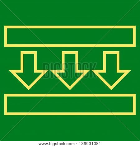 Pressure Down vector icon. Style is contour icon symbol, yellow color, green background.