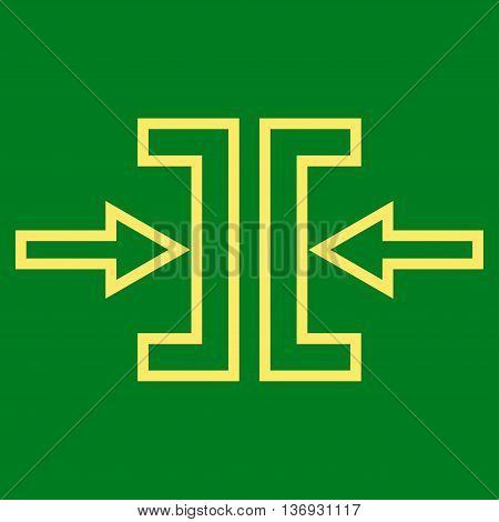 Pressure Horizontal vector icon. Style is thin line icon symbol, yellow color, green background.