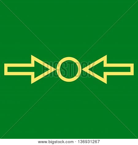 Pressure Horizontal vector icon. Style is contour icon symbol, yellow color, green background.