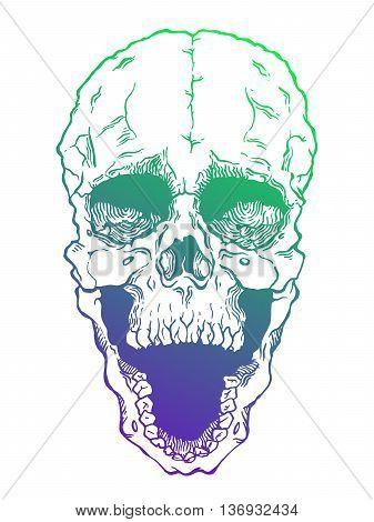 Terrible frightening skull. Creepy illustration for halloween