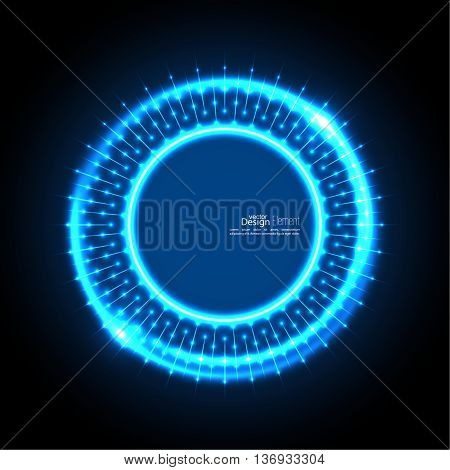 Abstract techno background with spirals and rays with glowing particles. Tech design. Lights vector frame. Glowing dots.  blue, cerulean, cobalt, indigo, sapphire, ultramarine. Neon ring
