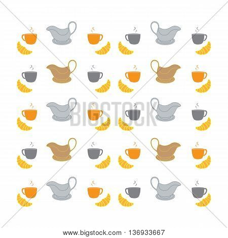 Nice picture with colorful cups saucers gravy boats and croissants
