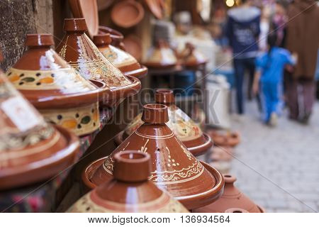 Tajines in the market Marrakesh in Morocco