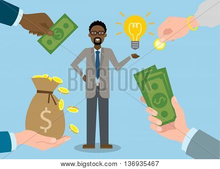 Businessman gets money for the idea. Handsome african american businessman has idea bulb. Selling new ideas, getting money. Funding concept.