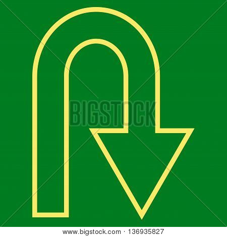 Turn Back vector icon. Style is thin line icon symbol, yellow color, green background.