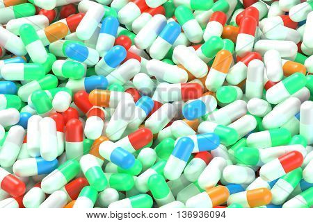 Top view of many colorful medication capsules. Closeup 3D Rendering