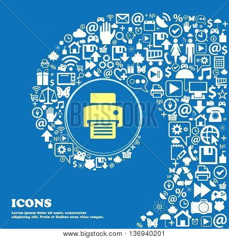 Fax, Printer Sign Icon . Nice Set Of Beautiful Icons Twisted Spiral Into The Center Of One Large Ico