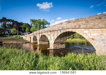 Pauperhaugh Bridge, just downstream from Rothbury town on the River Coquet, in Northumberland