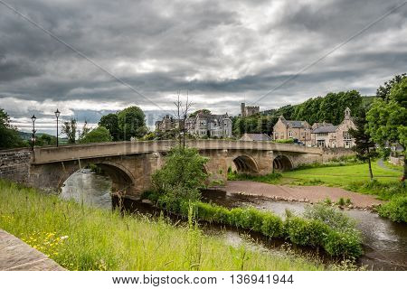 Rothbury Town and Bridge, which carries the road over the River Coquet, leading into the town in Northumberland