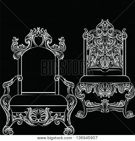 Baroque luxury style furniture set. Chair throne luxurious rich ornaments. French Luxury rich carved ornaments furniture. Vector Victorian exquisite Style furniture. Vector sketch on black background