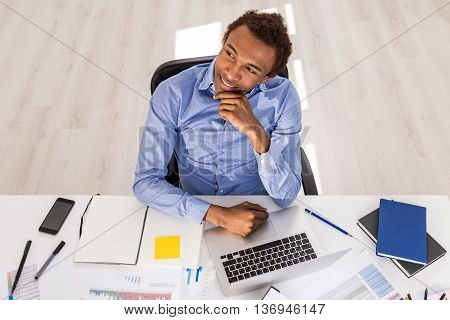 Thoughtful Black Guy In Office