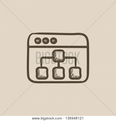 Browser window with folders vector sketch icon isolated on background. Hand drawn Browser window with folders icon. Browser window with folders sketch icon for infographic, website or app.