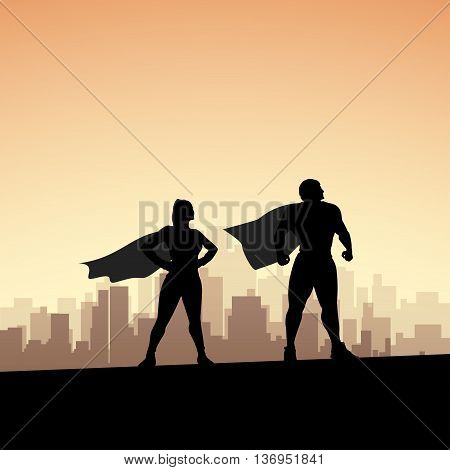 cartoon illustration of two super heroes standing silhouettes