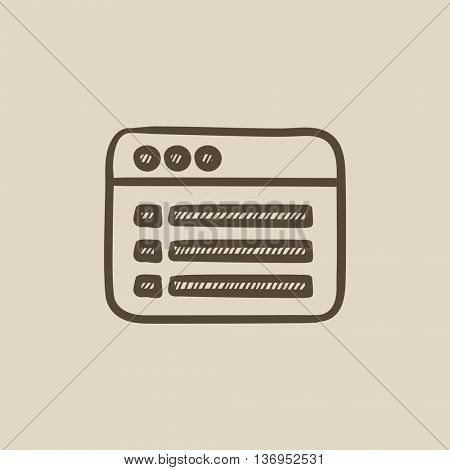 Browser window with folder contents vector sketch icon isolated on background. Hand drawn Browser window with folder contents icon. Browser window sketch icon for infographic, website or app.
